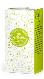 Соки ГОСТ, вкус Яблоко (прямой отжим), упаковка 1 литр