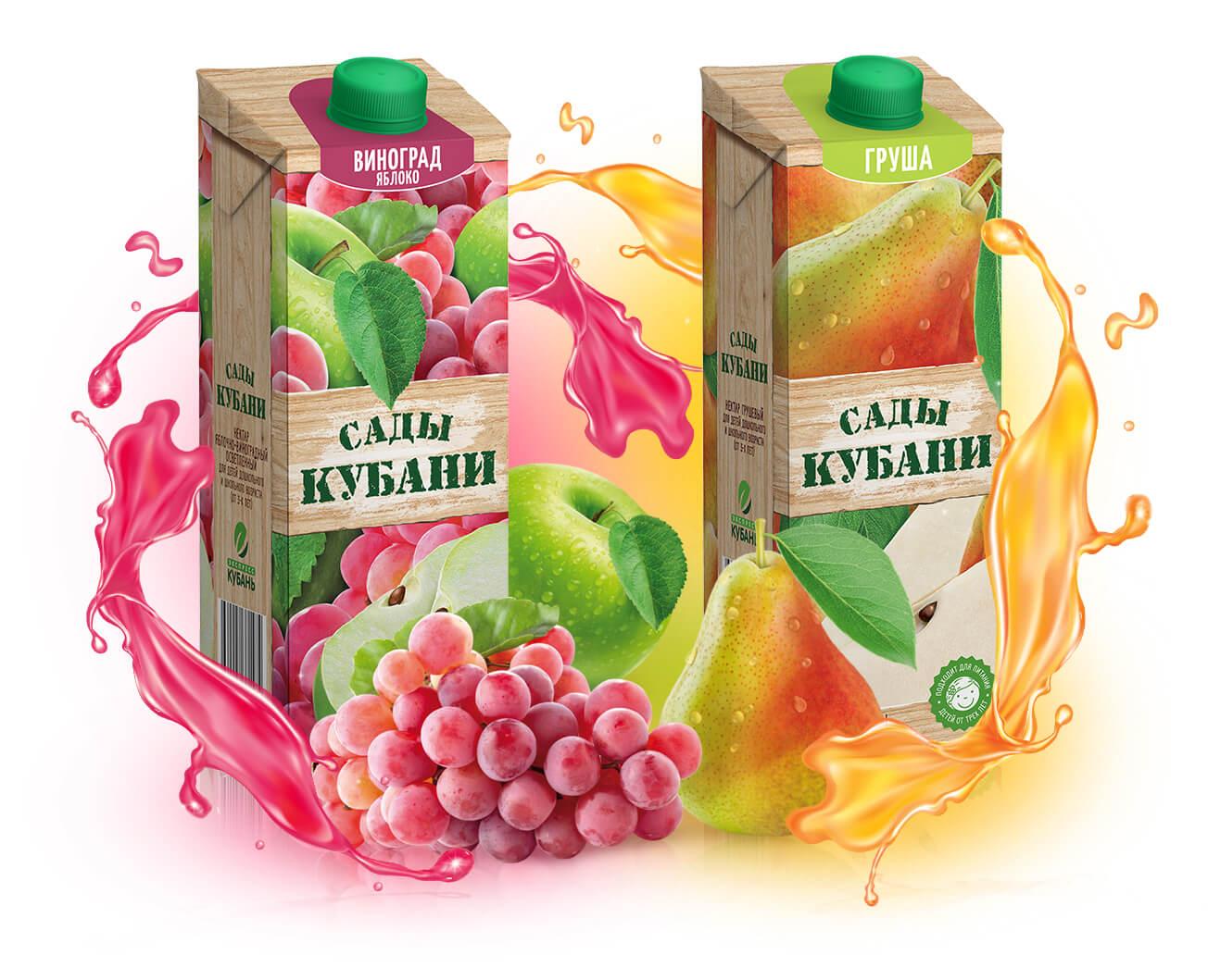 Соки и нектары торговой марки Сады Кубани