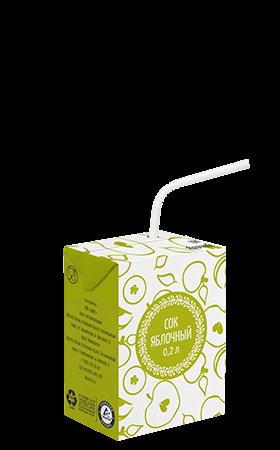 Соки СТО, вкус Яблоко, упаковка 200 мл.