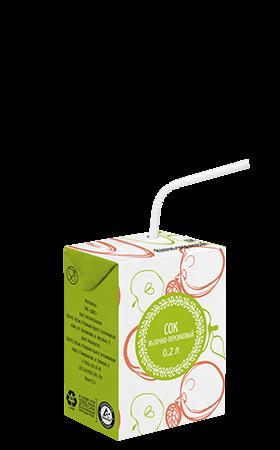Соки СТО, вкус Яблоко-персик, упаковка 200 мл.