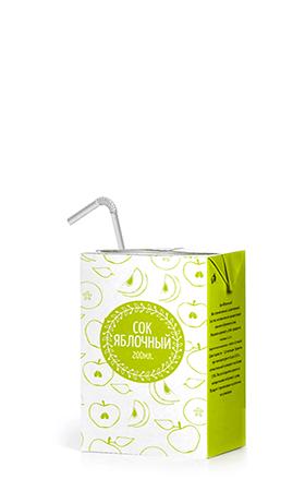 Соки ГОСТ, вкус Яблоко (прямой отжим), упаковка 200 мл.