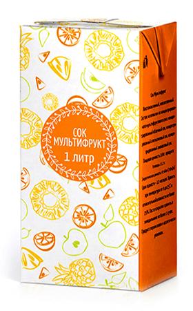 Соки ГОСТ, вкус Мультифрукт, упаковка 1 литр